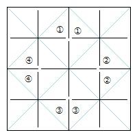 正六面体連鶴裁ち方図