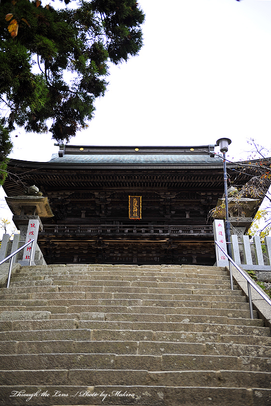 参道階段から見上げる拝殿