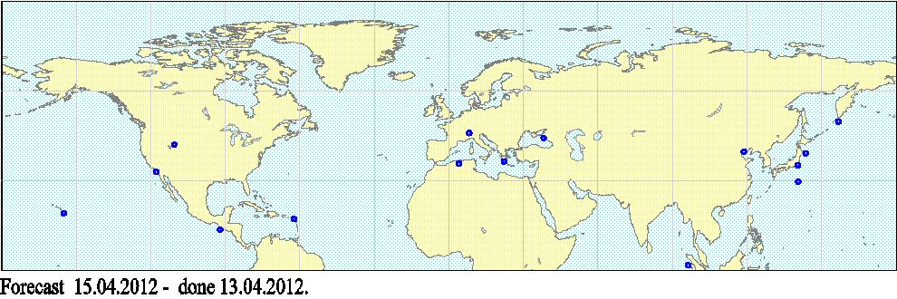 2012年4月13日~15日かけて地震が起きやすい場所