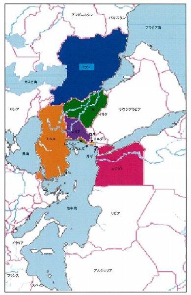 イランとイスラエル逆さ地図