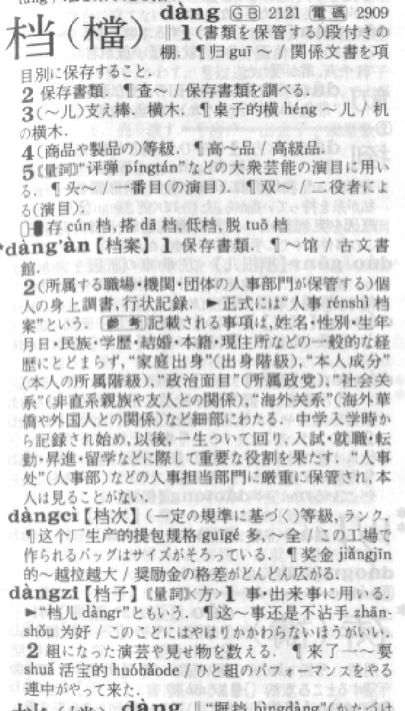 漢字「档」の意味