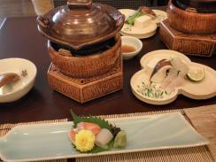 お造りと鱧と松茸鍋