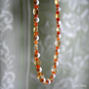 シトリンとパールのネックレス(天然石アクセサリー)