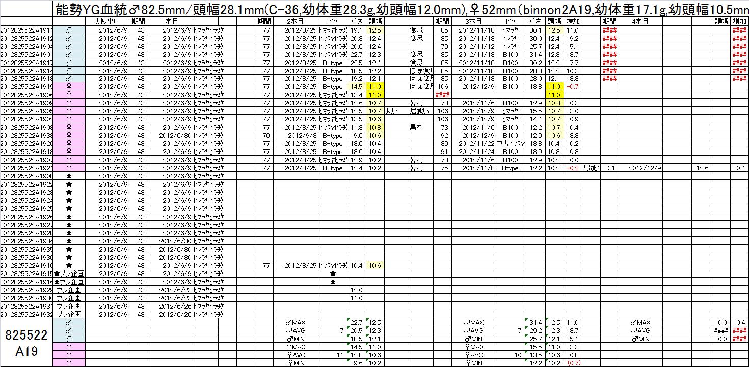 飼育管理表 2012-13 825x52 2A19 3本目