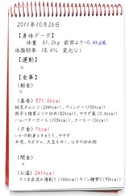 2011.10.26イエット日記