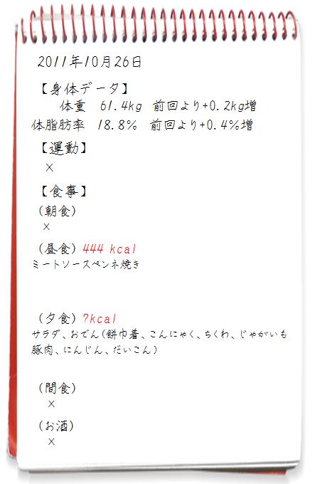 2011.10.27ダイエット日記