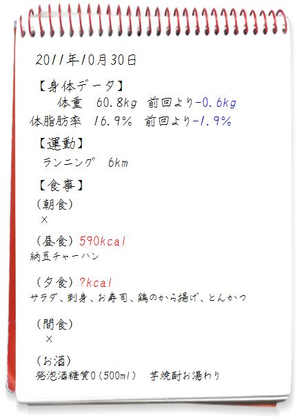 2011.10.30ダイエット日記
