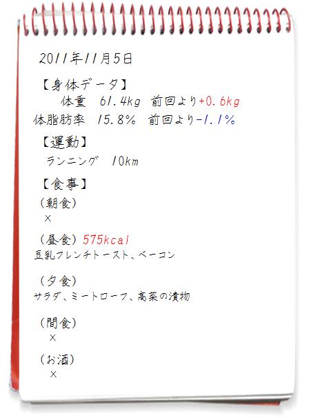 2011.11.04ダイエット日記
