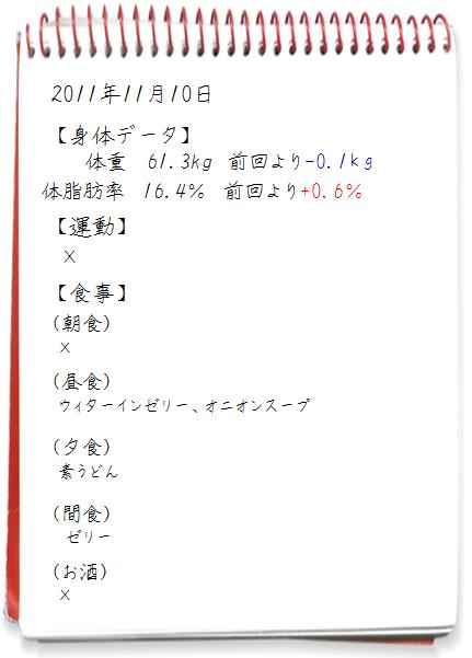 2011.11.10ダイエット日記