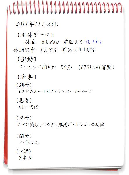 2011.11.22ダイエット日記