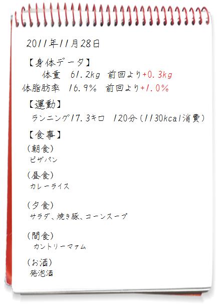 ダイエット日記2011.11.28