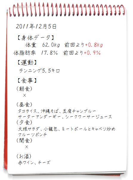 ダイエット日記2011.12.05
