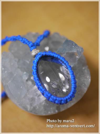八王子パワーストーンスクール&ショップアロマヴァンヴェール・パワーストーンデザイナー養成講座・天然石手作り教室(マクラメ編み)-水入り水晶ペンダントトップ