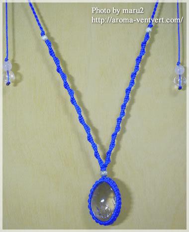 八王子パワーストーンスクール&ショップアロマヴァンヴェール・パワーストーンデザイナー養成講座・天然石手作り教室(マクラメ編み)-水入り水晶マクラメ編みネックレス