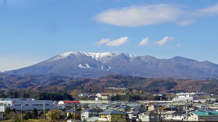 白石蔵王駅付近から見た蔵王山