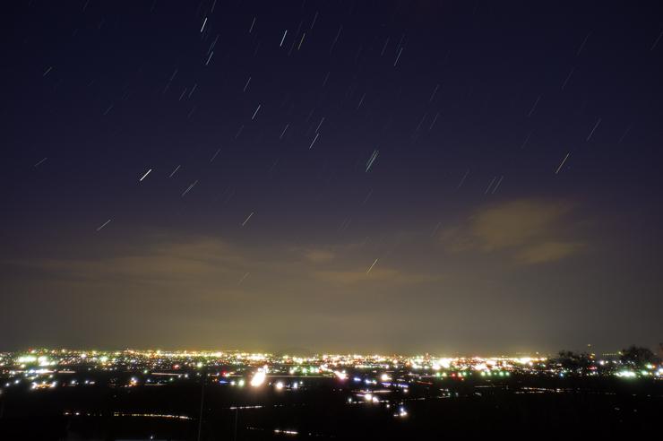 福島市の夜景と星空