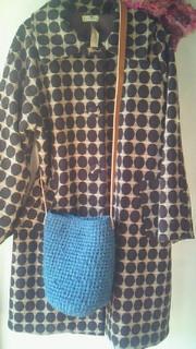 裂き編みブルーななめがけ