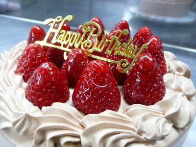 イチゴ&チョコクリームのバースデーケーキ