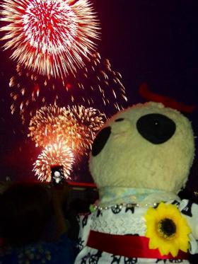 ばぶちゃん横浜の花火にうっとり
