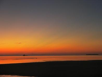 北サイドの夕日