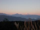 朝日に染まった富士山