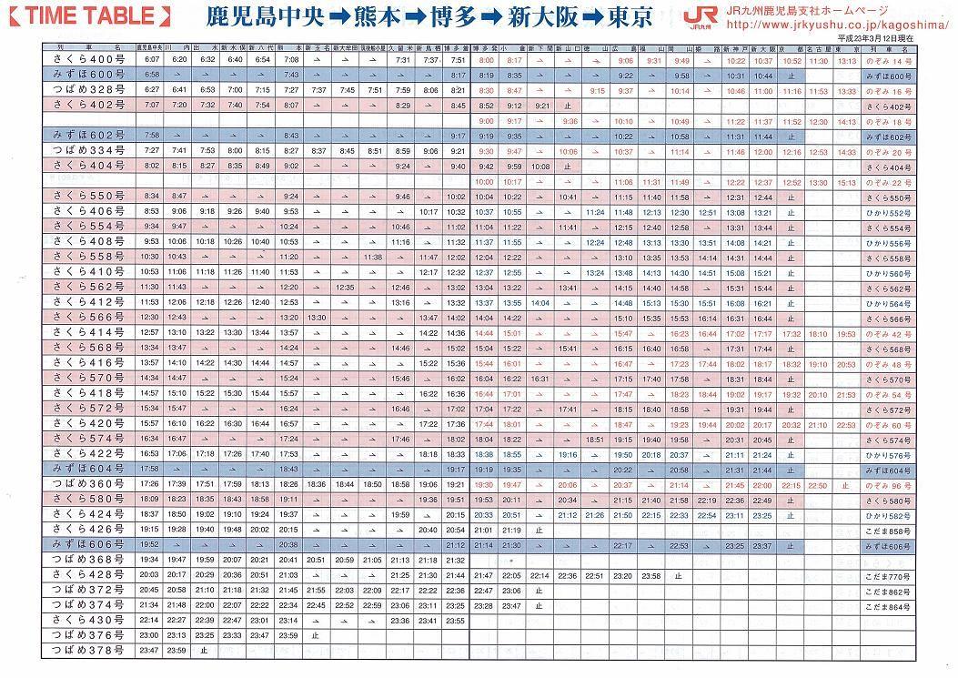 新幹線 時刻 表 九州