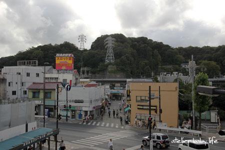 歩道橋から見た駅前