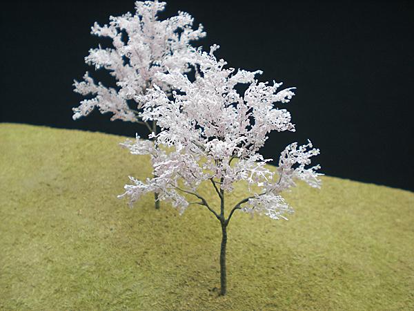 ジオラマアクセサリー用樹木製作パーツ【満開のソメイヨシノ】製作例