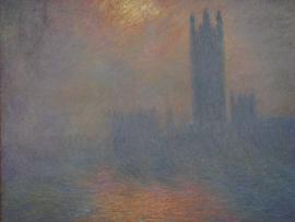 Londres, le Parlement. Troueacute;e de soleil dans le brouillard 20080607-037 モネ0012
