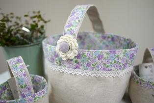 小物入れ大 紫小花の持ち手120407