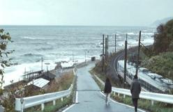 海沿いの街を歩いている二人