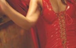 ボンテージ衣装に包まれたミーコ様の胸