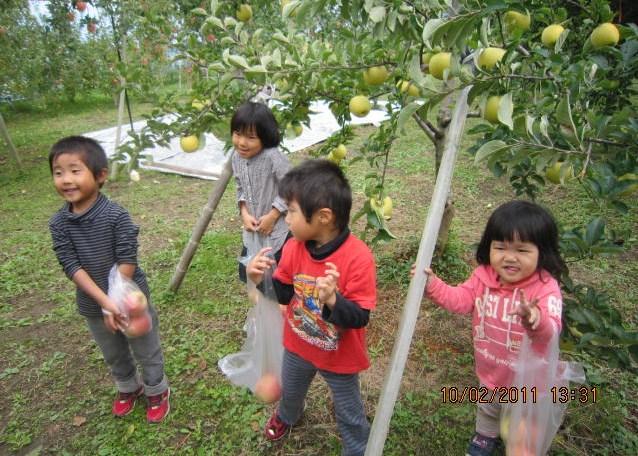 子供たちはりんご好き