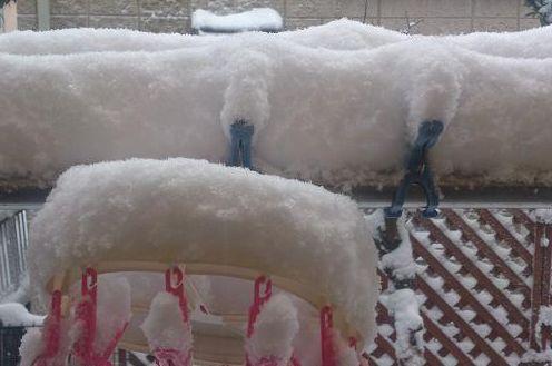 物干しざおの雪