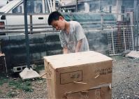 段ボ-ル箱燻製器