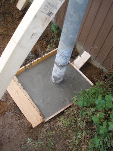 コンクリートで固めて