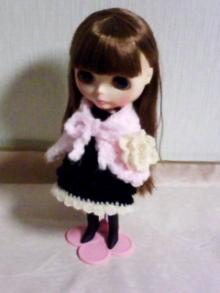 $doll-handmade-ブライス ブラックニットワンピース