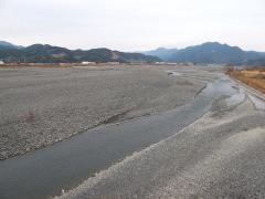 水量の減った安倍川