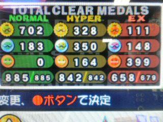 AC19での総メダル数。EXパフェ・フルコンが大幅に増えたような気がしますねー