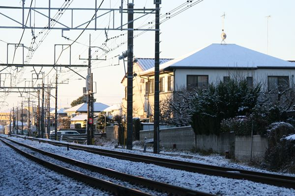 雪が積もってる線路