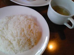 「スープ、ライス」ハローコーヒー(福岡市)