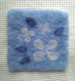 花柄マットブルー