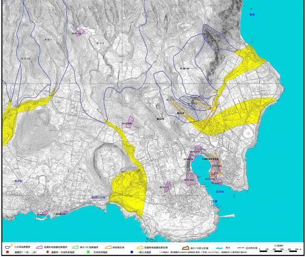 黄色は土石流危険箇所 紫は急傾斜地崩壊危険箇所(東京都建設局河川部)