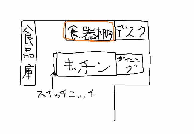 キッチン手書き(食器棚)