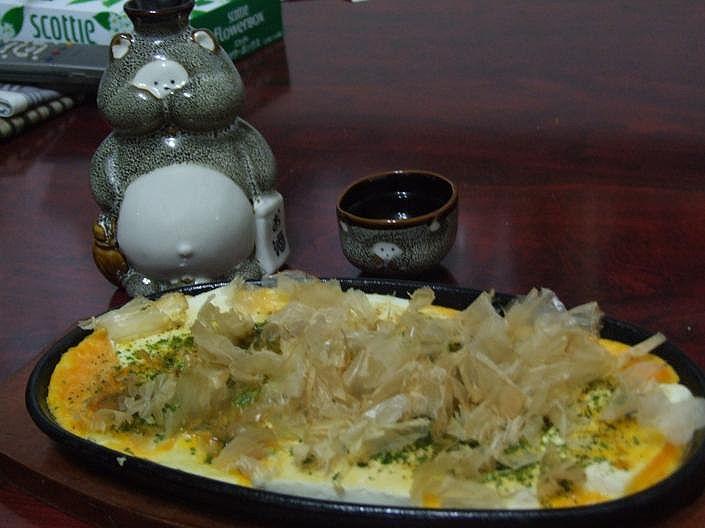 豆腐の鉄板焼きで一杯