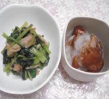 ザーサイと小松菜の炒め物 なめこおろし