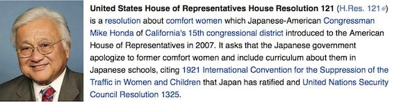 マイクホンダと米国の議決121