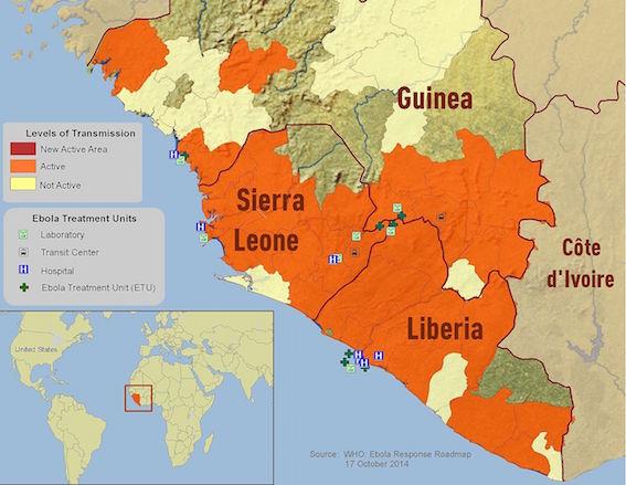 2014年エボラ出血熱地図