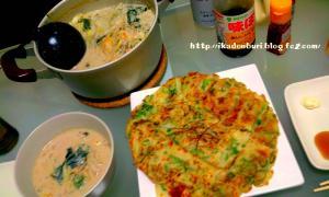 ゴマ豆乳キムチ鍋、ジャガイモと白ネギの青いとこのチヂミ。
