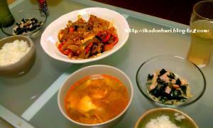 麻婆茄子豆腐、わかめと寒天の中華サラダ、キャベツのサンラータンスープ。